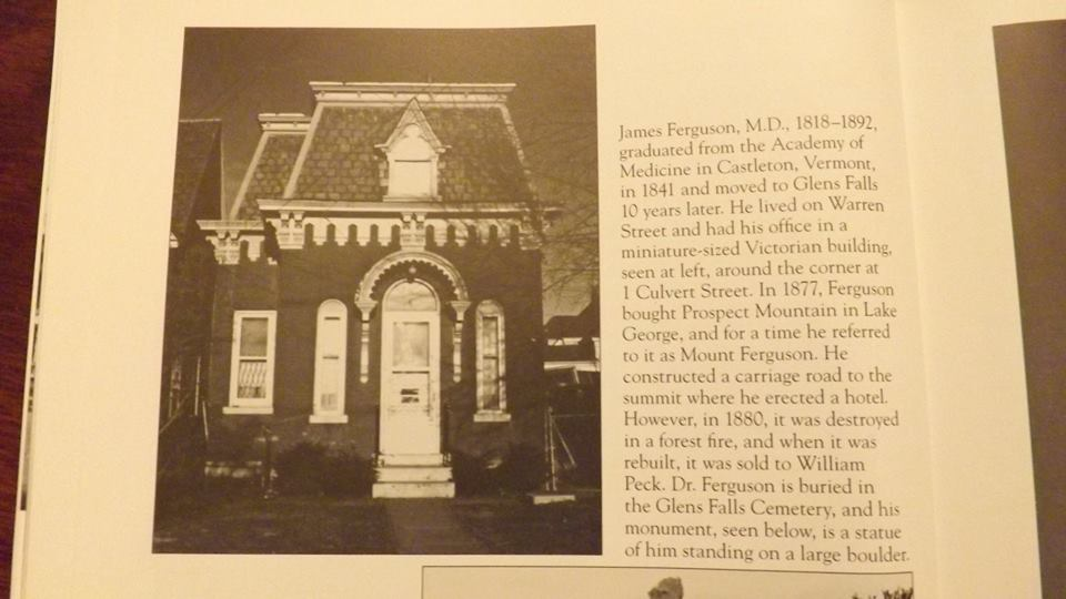 Picture of half a book page showing 5 Culvert Street in it's prime and detailing the original ownership of the building by Dr. James Ferguson and it's placement on the historical register.