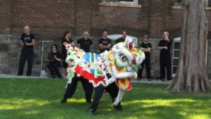 Wing's Ling Chun Kung Fu Academy performing the lion dance